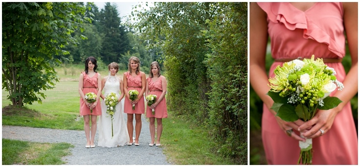Pink bridesmaid dresses, Salmon bridesmaid dresses, Green and Pink, Green bouquets, Green flowers, Coral Bridesmaid Dresses