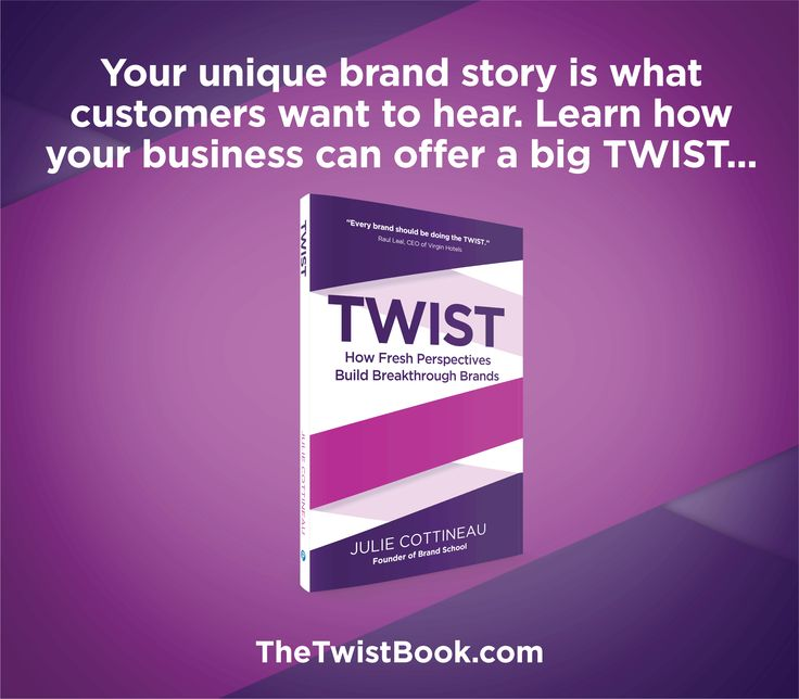 Your customers are looking for a more personal connection. Discover and share your unique brand TWIST...learn more in TheTwistBook.com
