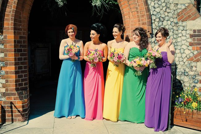 Bright and beautiful bridesmaid dresses from Tabitha and James #weddingideas