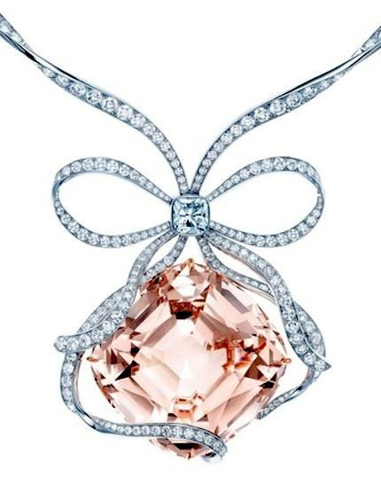 Tiffany Anniversary Morganite necklace, Cushion Morganite totaling just over 175 carats, with a ribbon-like diamond bow centered with a Tiffany Novo® diamond