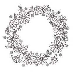 Free hand-embroidery pattern: Daisy wreath · Needlework News | CraftGossip.com