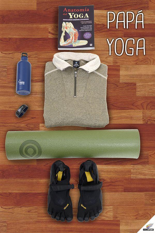 Libro, Props - Botella de agua, Andes Gear - Chaleco, Zolkan - Mat de yoga, Props - Pulsera de rendimiento, Garmin - Zapatillas, Props
