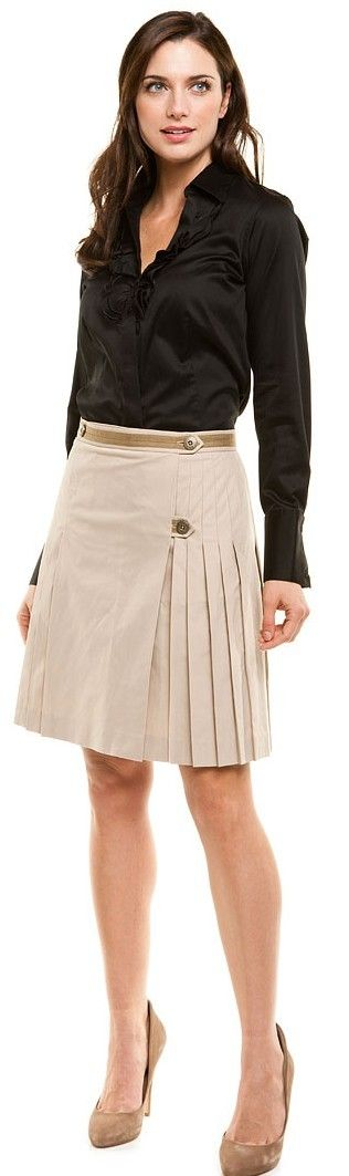 Brooks Brothers Light Taupe Pleated Poplin Skirt ♥✤ | Keep the Glamour | BeStayBeautiful
