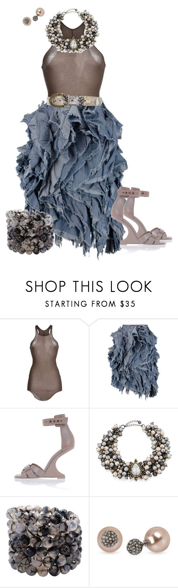 """Frayed Denim Skirt"" by hope-houston on Polyvore featuring Rick Owens, Marques'Almeida, Lydell NYC, Savvy Cie, Betsey Johnson and Fausto Colato"