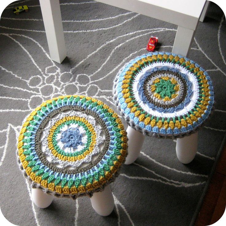 Crochet Stool Cover on little Ikea stools, (with link to pattern), which I already pinned believe......