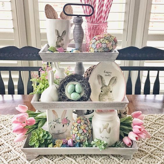 Tiered Tray Styling Ideas You Ll Love In 2020 Easter Centerpieces Spring Easter Decor Easter Diy