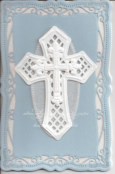 Christening card made with Spellbinders Cross dies