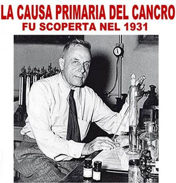 La causa principale del cancro è stata ufficialmente scoperta decenni fa (1923) da uno scienziato premio Nobel per la medicina, nel 1931.