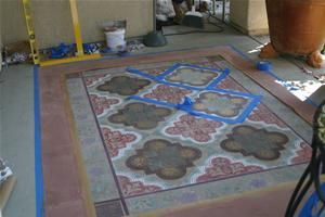 """paint a """"rug"""" on your patio! Love it"""