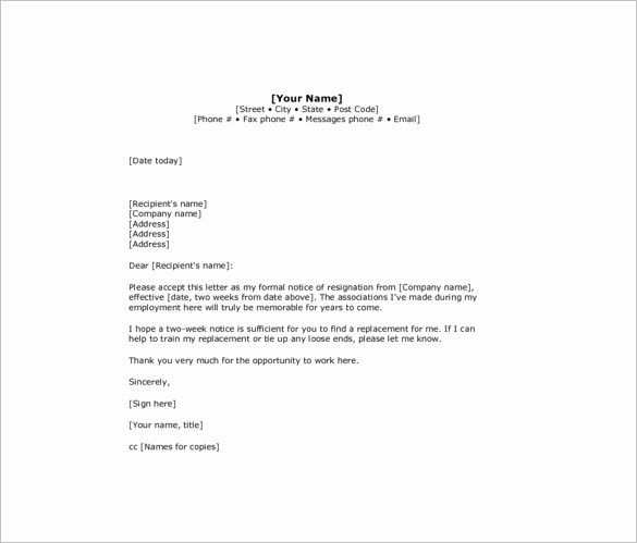2 Week Resignation Letter Template Inspirational 10 Sample Two Week Notice Resi How To Write A Resignation Letter Resignation Letter Cover Letter Template Free
