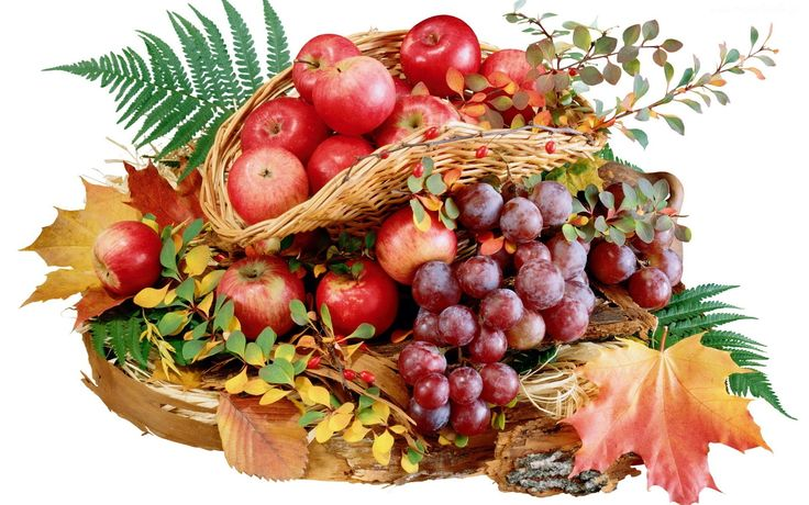 Owoce, Jesieni, Kosz, Liście, Kompozycja