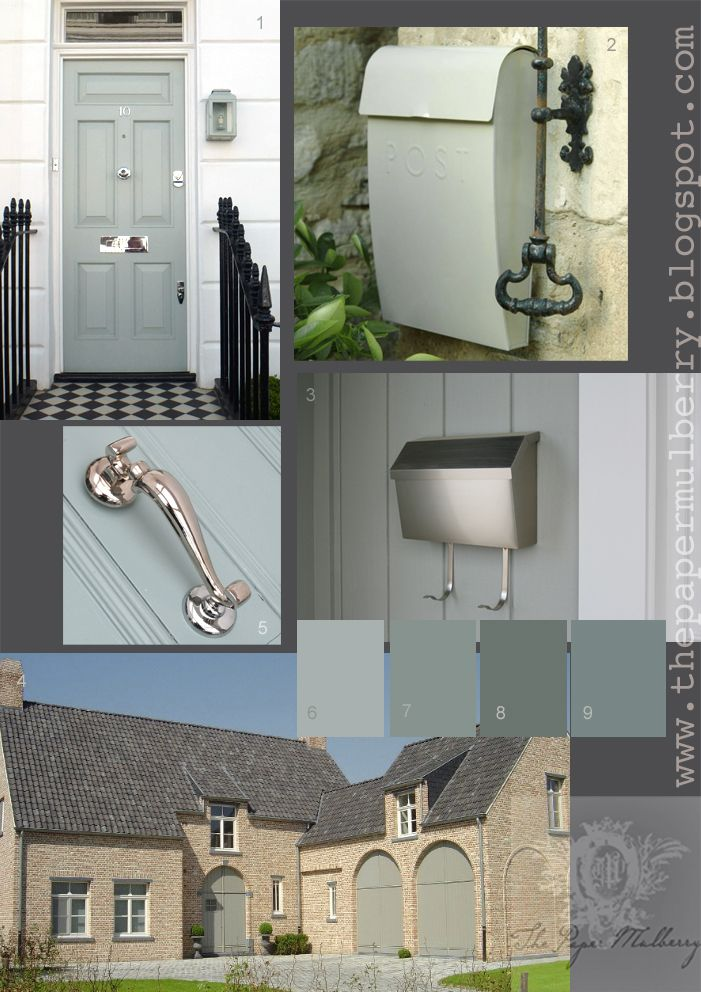 Exterior paint in shades of soft French shutter blue/grey/green - full details and links via The Paper Mulberry: Exterior Paint Shades - Part 2