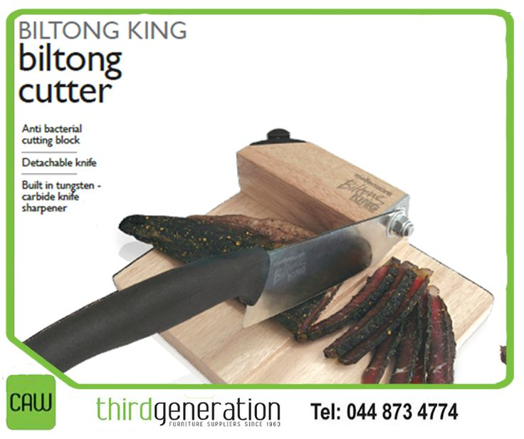 Don't struggle with blunt knives to cut biltong. Get yourself a #Mellerware #BiltongKing biltong cutter, available from #CAWThirdGeneration
