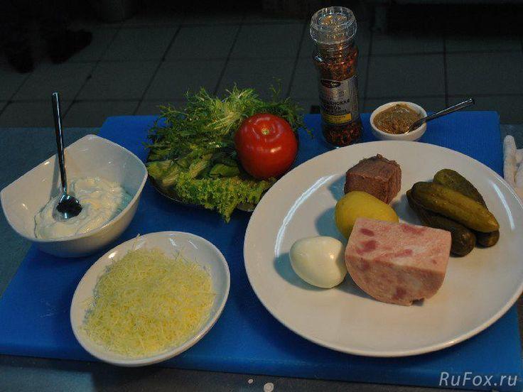 Салат из говядины и соленого огурца