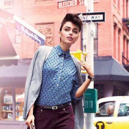 Long Sleeve Tunic Swiss Dots Top