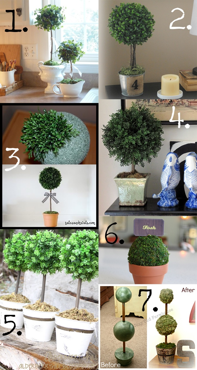 DIY TOPIARIES :: 1.) www.kathy-cottagedreams.blogspot.com/2012/03/making-topiaries.html  2.) www.thriftydecormom.blogspot.com/2012/08/diy-topiary.html   3.) Technique @ livingwithlindsay.com  4.) www.cottageandvine.blogspot.com/2011/10/about-topiary.html  5.) www.alderberryhill.blogspot.ca/2012/08/diy-shabby-mini-toparies.html#  6.) www.victoriousarchive.blogspot.com/2012/03/diy-topiary-place-setting.html  7.) www.thecozyoldfarmhouse.blogspot.com/2012/06/diy-topiaries-tutorial.html