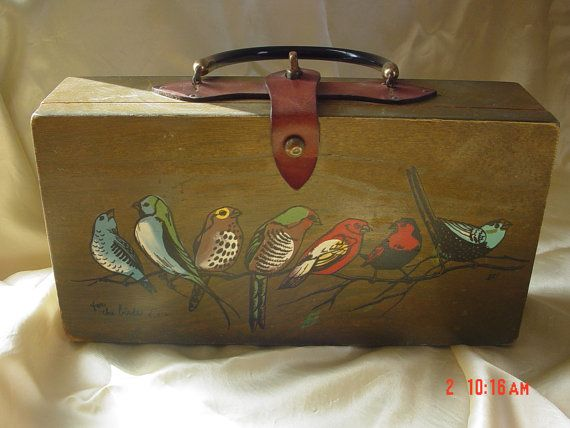Vintage hand painted box purse-Enid Collins