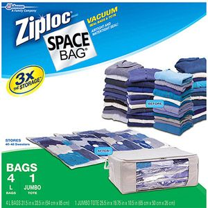 Ziploc Large Space Bag Vacuum Seal Bags and Jumbo Tote, 5-Piece- My husband and I vacuum sealed all of our clothing and blankets then just tossed these bags in our car trunks! It made moving out of state SO much easier.