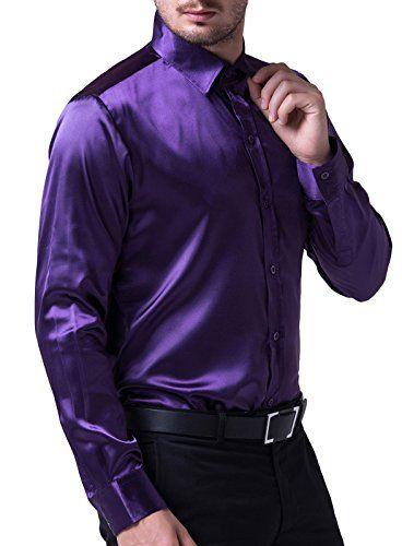 3762ef67f PAUL JONES Men's Slim Fit Silk Like Satin Luxury Dress Shirt at Amazon  Men's Clothing store: