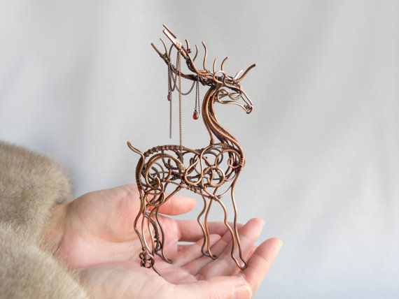 Deer copper art figurine metal sculpture wire wrapped for Wire art projects
