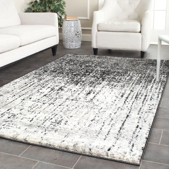 Lopp Abstract Area Rug Black Grey Rugs Retro Home Decor Grey Rugs