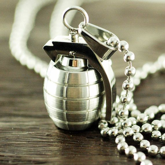 Mens Jewelry Mens necklace Gift for HimHand Grenade by luckyhorn