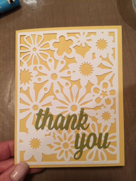 Wendy uses the beautiful Floral Fusion die from My Favorite Things combined with a pretty 'Thank You' script die for a quick clean and simple card.