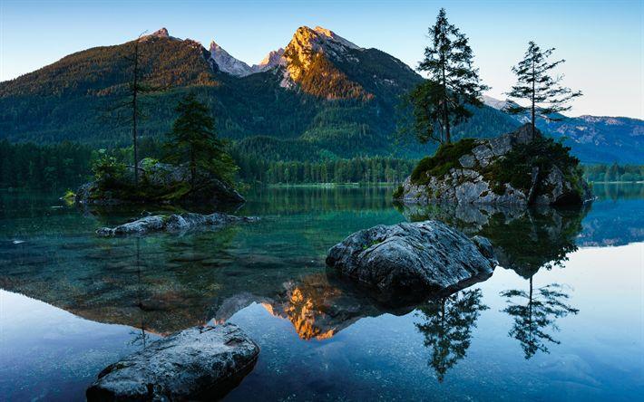 Télécharger fonds d'écran Berchtesgaden, le lac, les montagnes, coucher de soleil, Bavière, Allemagne