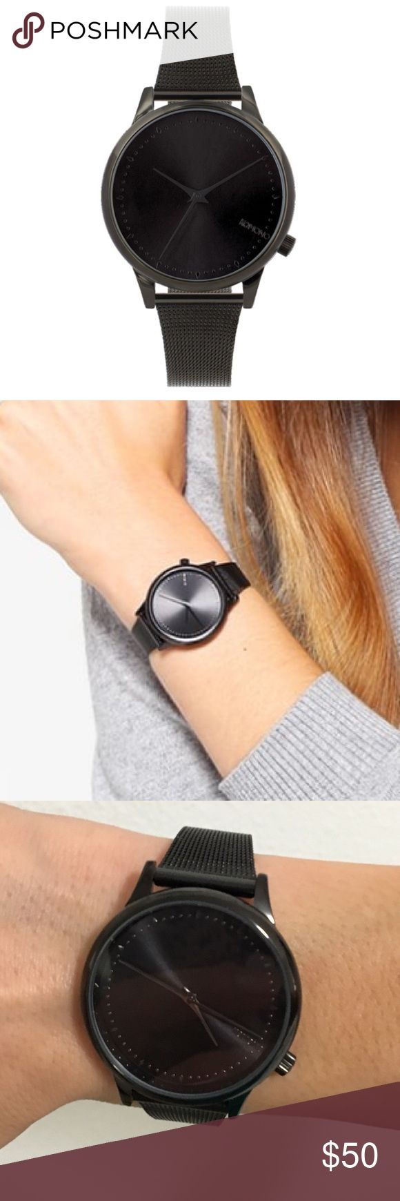 Komono black stainless steel watch - worn once Japanese Quartz Movement Glossy Metal Case Stainless Steel Back Stainless Steel Mesh Wristband Case Diameter 36mm Case Water Resistant 3atm Komono Accessories Watches