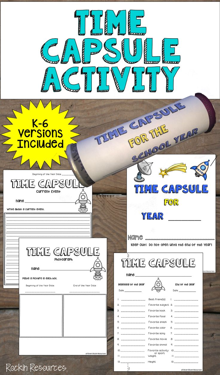 This Time Capsule activity is so much fun to do at the beginning of the year (Back to School) and then again at the end of the year!   Homeschoolers will love it too!