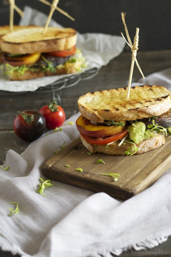 Grilled 'bella and Peach | food food and more FOOD | Pinterest