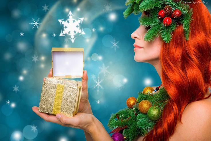 Kobieta, Święta Bożego Narodzenia, Prezenty, Płatki śniegu, Gałęzie