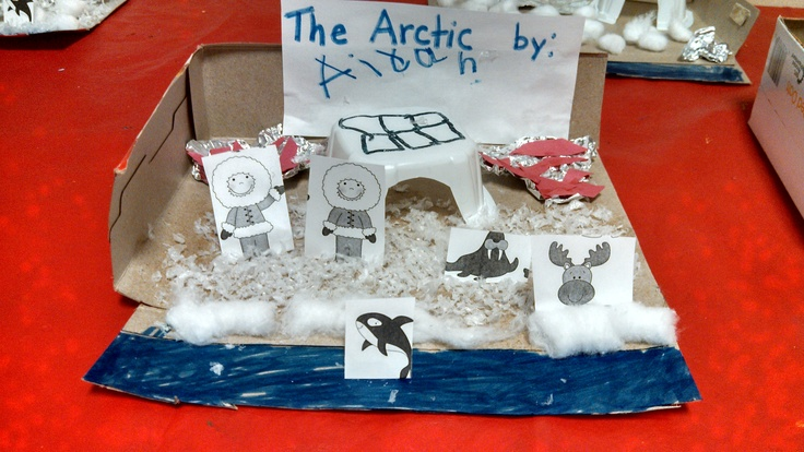Kids had the choice to make an Arctic or Antarctic Diorama.  We used cereal cartons for igloos, markers, fake snow, white paper and foil for ice.  I also printed out little pictures of animals and folded them down to make them stand up.  It was a great culminating activity for the unit.  The kids really understood which animals lived where.  This child even made two holes for Inuits to ice fish (complete with red fish). (pic~ Kristin's classroom)