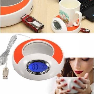 FREE SHIPPING! 4 Port USB Hub Coffee Milk Cup Mug Warmer Pad with Blue LED Backlight For PC Laptop SKU267602