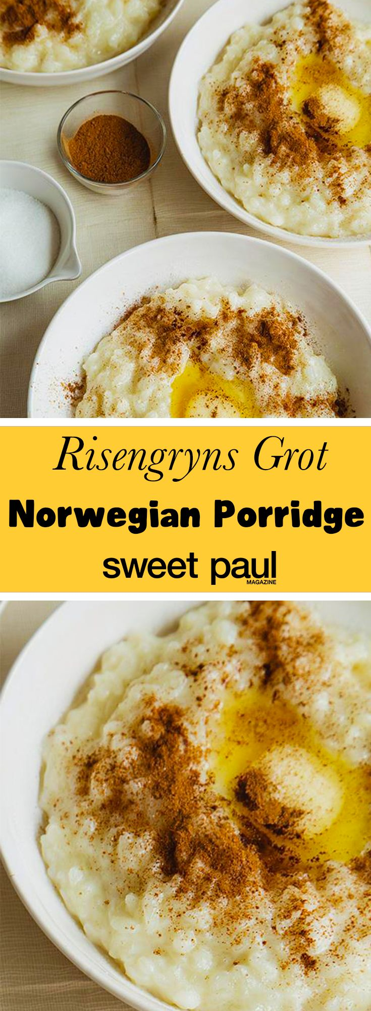 Classic Norwegian sweet rice porridge served with cinnamon and butter!