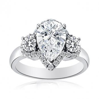Halo Set Pear Shaped Diamond Ring with Round Brilliant Side Stones