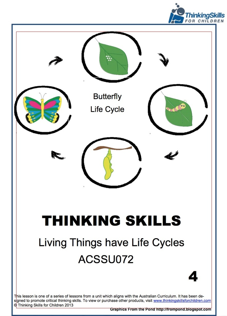 Butterfly Life Cycle - Yr4 – Science. 15 pages of activities and guidance notes exploring the life cycle of a Butterfly. (Australian Curriculum No ACSSU072) This product develops thinking skills whilst students explore the life cycle of a butterfly. Activities used include Graphic Organisers, Thinking Activities, Logical Thinking and Venn Diagrams.