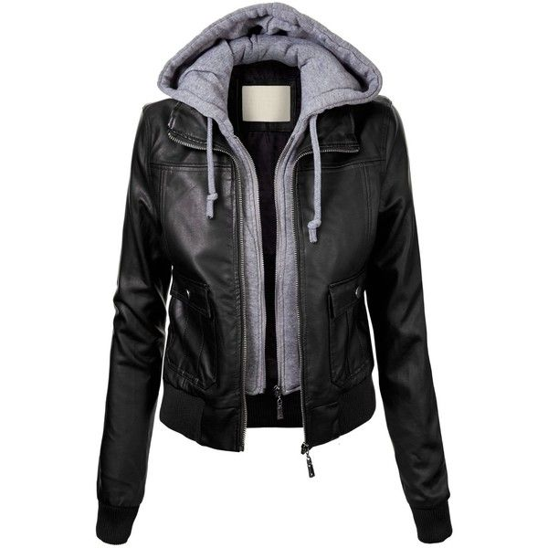 Lock and Love Women's Vegan Leather Bomber Jacket with... ($6.26) ❤ liked on Polyvore featuring outerwear, jackets, tops, leather jacket, casacos, faux leather jacket, flight jacket, blouson jacket, fake leather jacket and vegan jackets