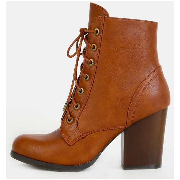 Almond Toe Chunky Heel Combat Boots CHESTNUT (775 CZK) ❤ liked on Polyvore featuring shoes, boots, ankle booties and chestnut