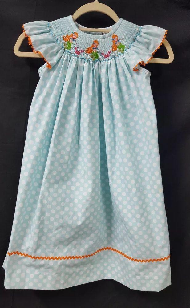 d58f6de16ba GIRLS Shrimp   Grits Blue White Pocket Dot Smocked Dress Mermaids Size 6   SHRIMPANDGRITS  Everyday