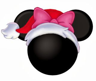 Mickey and Minnie Heads Dressed for Christmas.