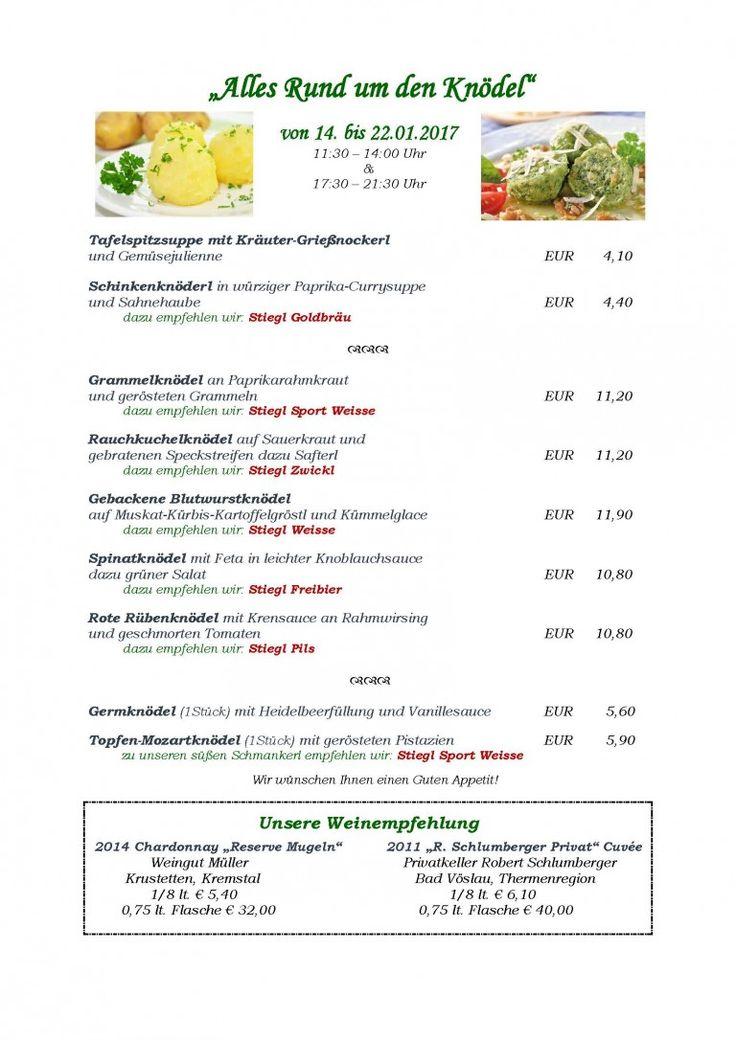"""Speisekarte zur kulinarischen Aktion """"Alles Knödel"""""""