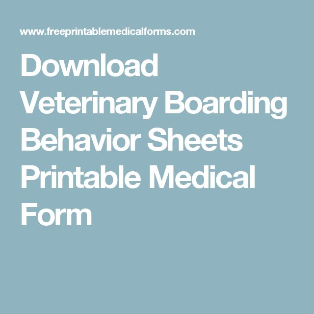 Download Veterinary Boarding Behavior Sheets Printable Medical Form