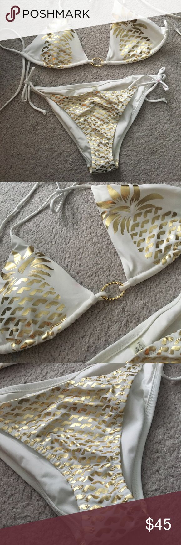 Victoria's Secret Bathing Suit White and gold bikini.  Pineapple design on top! Triangle tie style top and tie bottom. Victoria's Secret Swim Bikinis