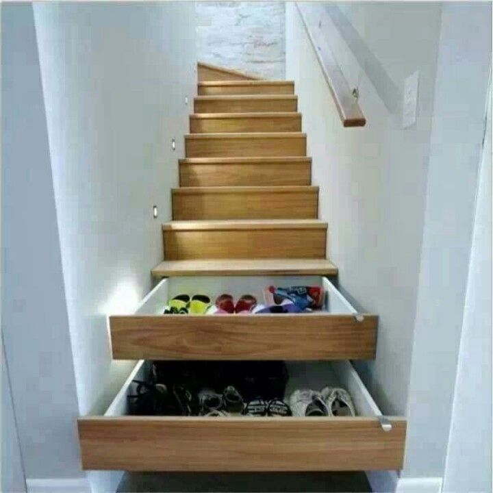 Useful stair shelves.