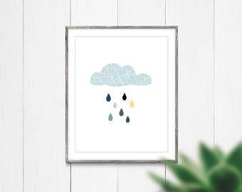 April Showers Art Print, Instant Digital Download, Printable Art, Wall Art Print, Modern Print, Rain Cloud Print, Nursery Wall Art