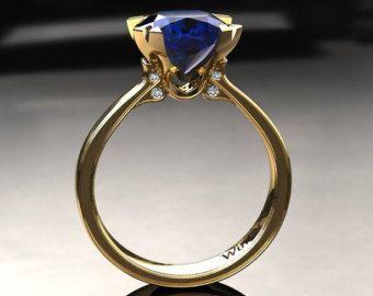 Cojín anillo de compromiso de zafiro azul por WinterFineJewelry