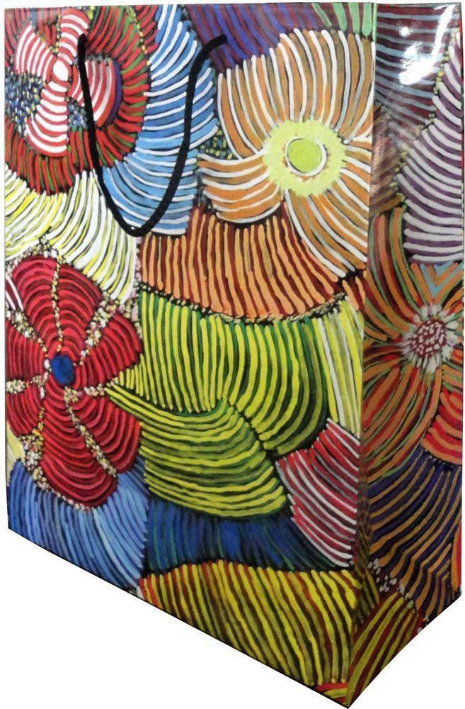 Utopia design Giftbag (large) design:  Pencil Yam Artist:  Josie Kunoth Petyarre size:  30cm x 40cm x 14.5cm $5.50 each