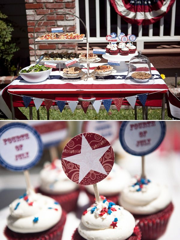 4th of July: Buffet Tables, Decoration, Style 4Th, Americana Style, Food Table