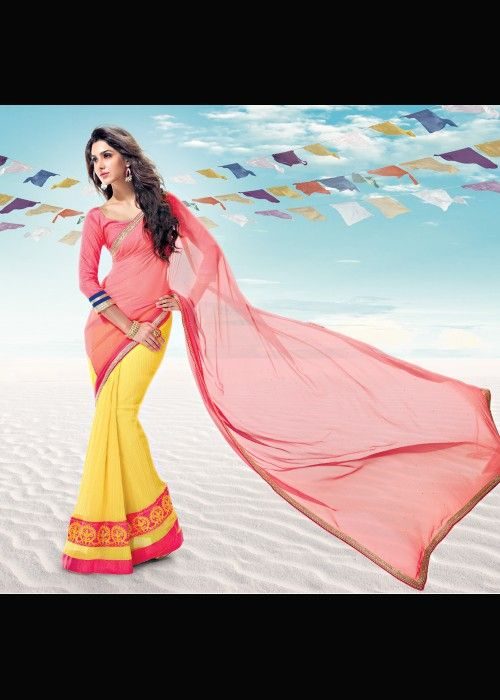 R rajkumar Peach Yellow Half And Half Saree on US$ 35.93 On sale - ethnic-bargains.blogspot.co.uk/2014/02/price-drop-r-rajkumar-peach-yellow-half.html